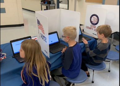 Lions Park students cast their votes in mock election