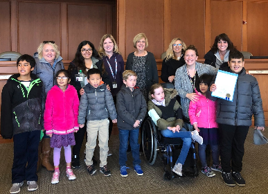 Students accept Village proclamation and visit new inclusive park